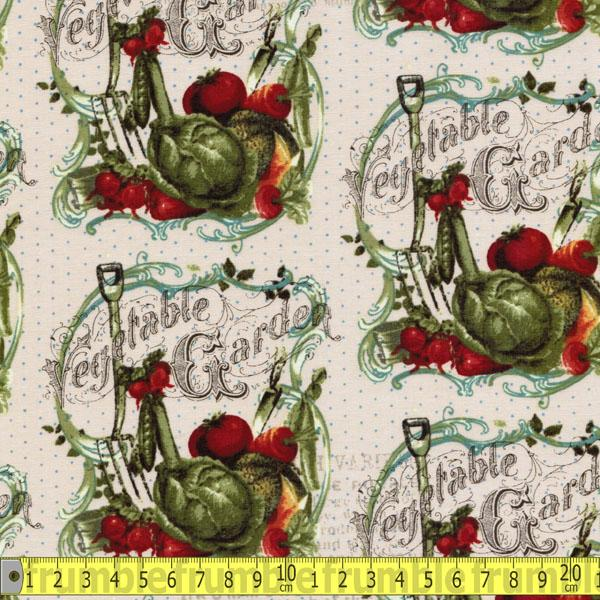 Vintage Seedpackets Vegetable Garden Cream Fabric by Clothworks
