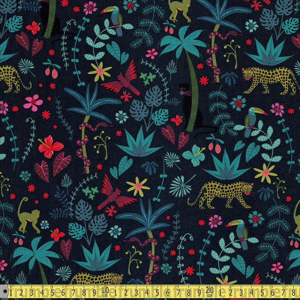 Dashwood Studio - Night Jungle - Jungle Scene Sewing Fabric
