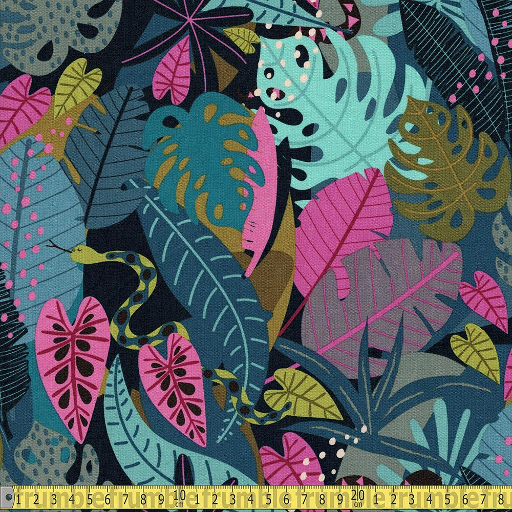 Dashwood Studio - Night Jungle - Snakes in Leaves Sewing Fabric
