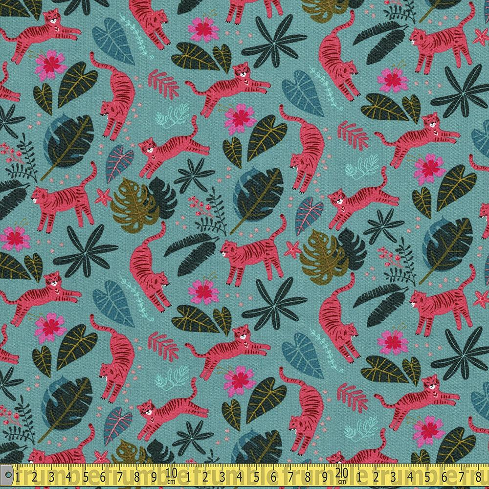 Dashwood Studio - Night Jungle - Tigers and Leaves Sewing Fabric