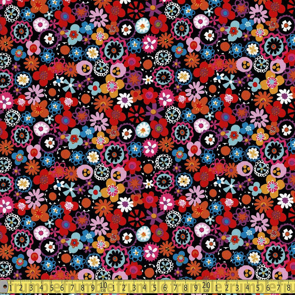 Fiesta Little Flowers Black - Frumble Fabrics
