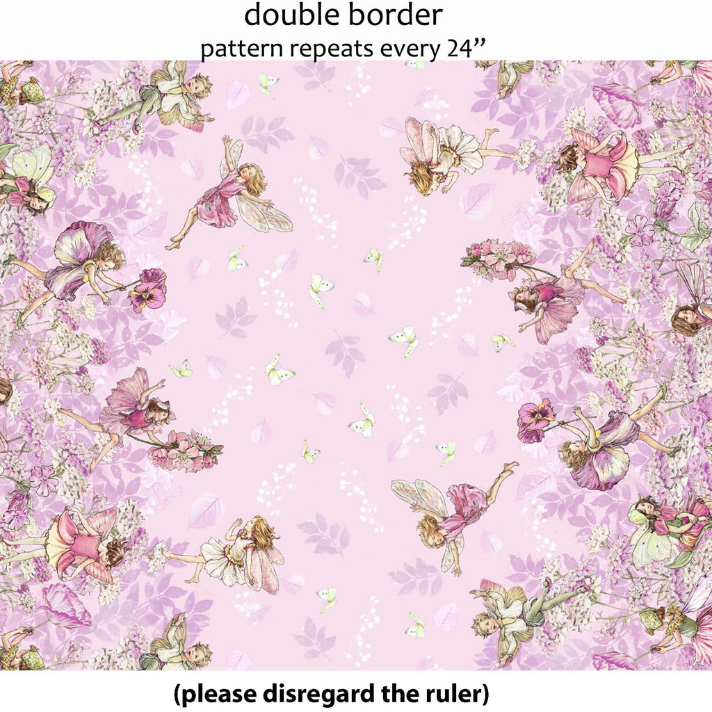 Petal Fairies Border Pink Fabric by Michael Miller