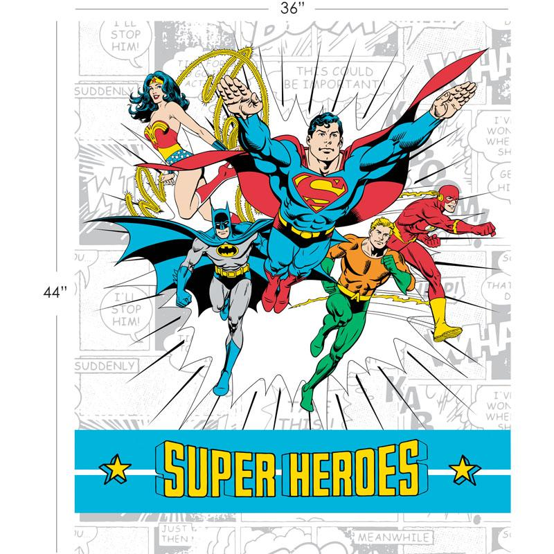 DC Comics II Super Heroes 90cm Panel in White - Frumble Fabrics