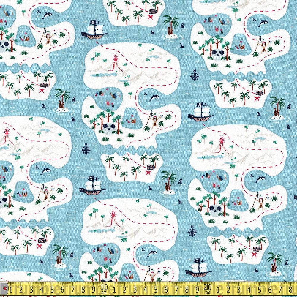Dear Stella - Bootylicious - Pirate Skull Island Starlight Sewing and Dressmaking Fabric