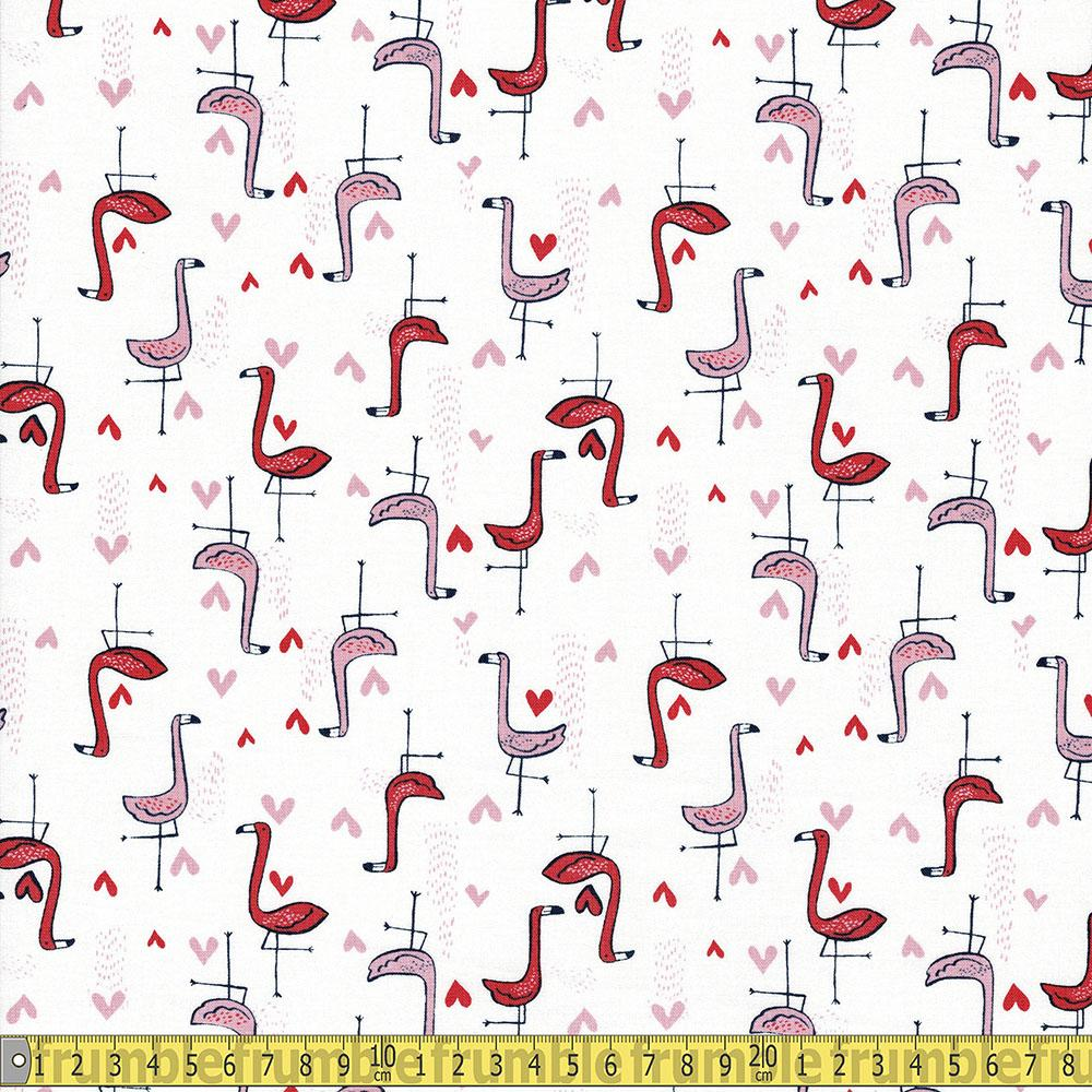 Dear Stella - Bootylicious - Shark Bait Flamingos White Sewing and Dressmaking Fabric