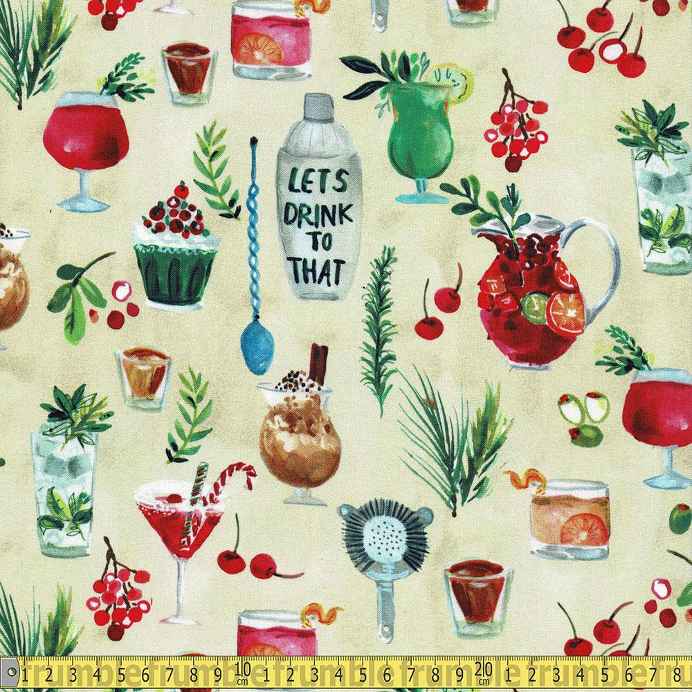 Dear Stella - December To Remember - Winter Drinks Multi Sewing Fabric