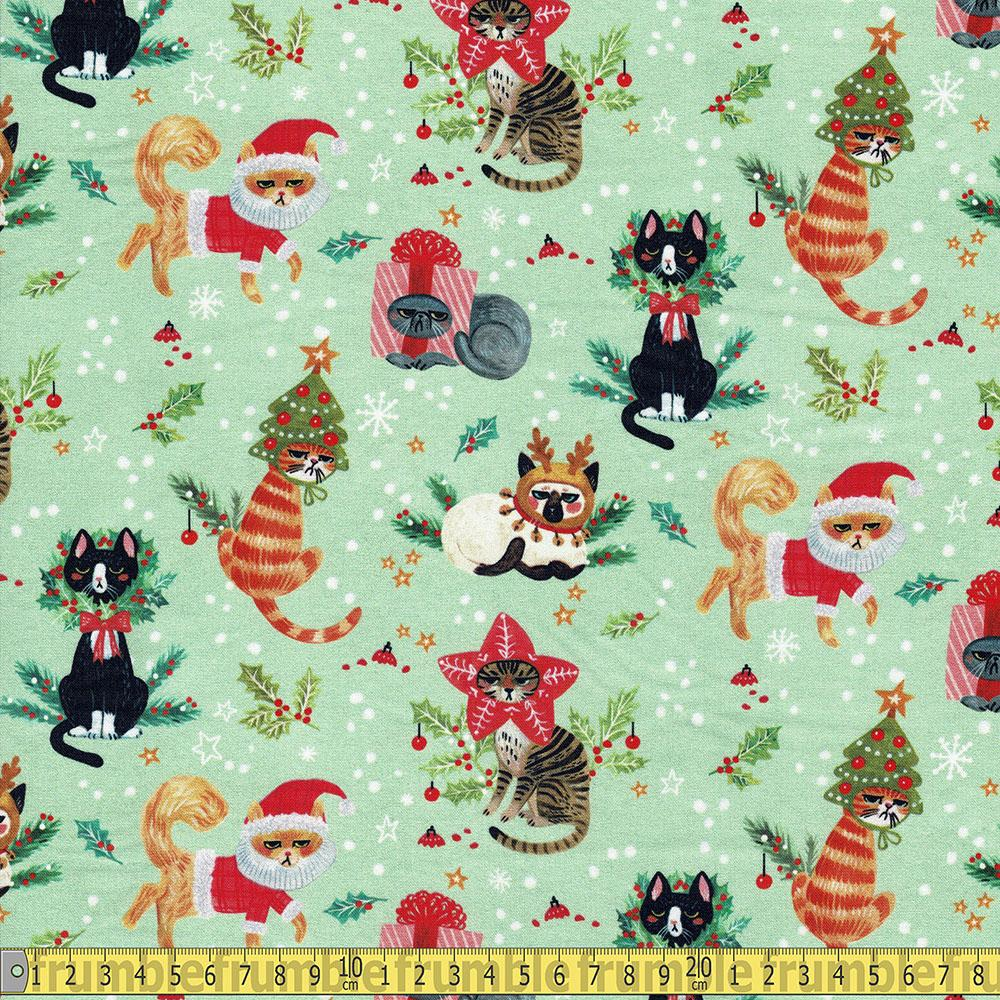 Dear Stella - Not Ameowsed - Christmas Cats Multi Sewing Fabric