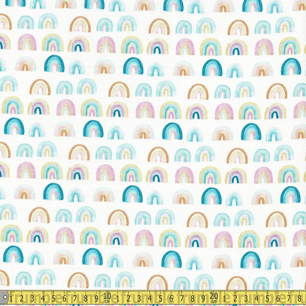 Dear Stella - Summer Lovin - Rainbows White Sewing and Dressmaking Fabric