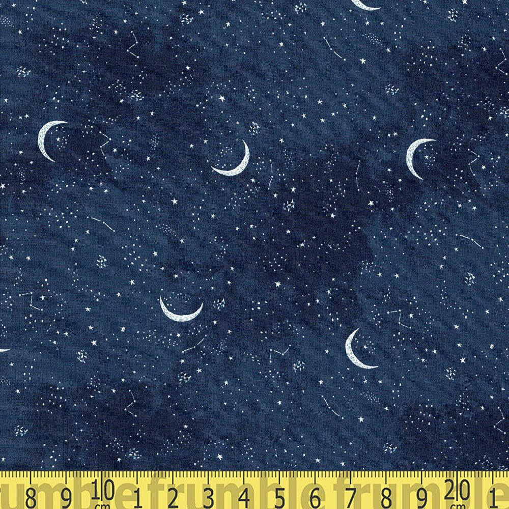 Brave Enough to Dream Crescent Moon Navy Fabric by Dear Stella