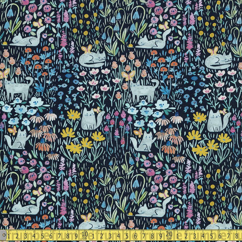 Here Comes The Sun Kitty Garden Multi Fabric by Dear Stella