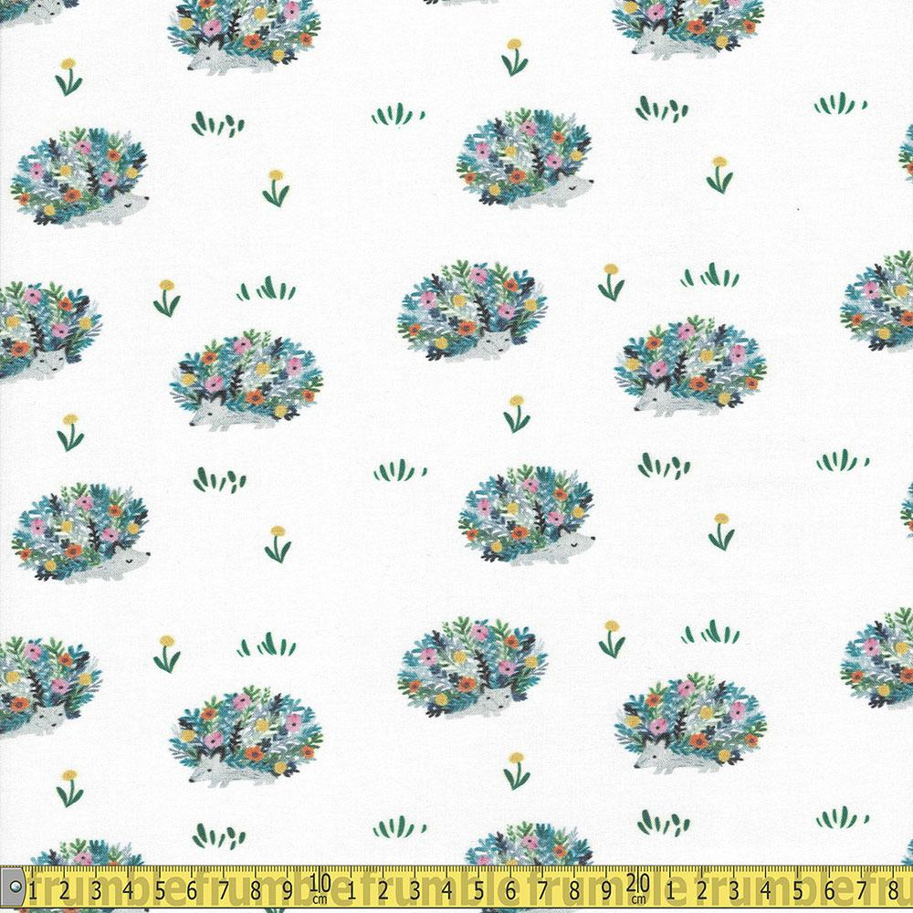 Here Comes The Sun Porcupines White Fabric by Dear Stella