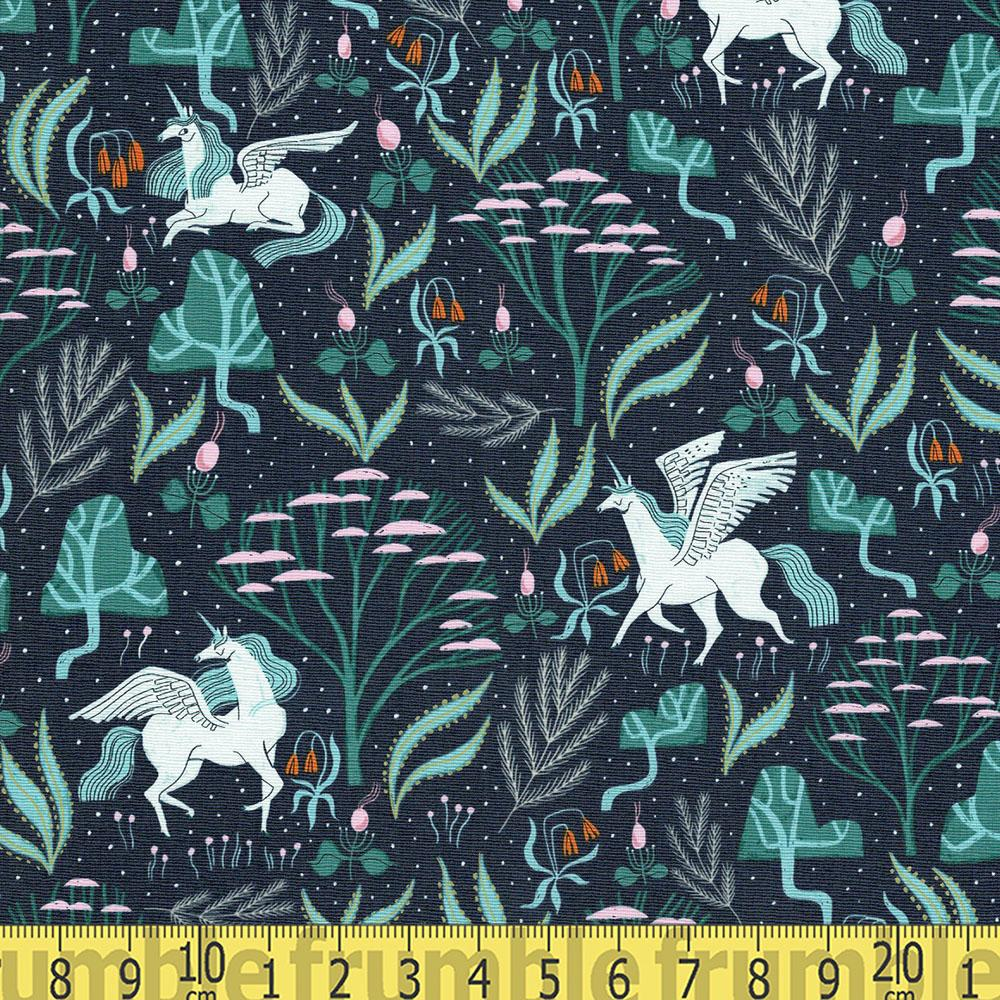 Mythical Mystical Unicorns Atlantic Blue - Frumble Fabrics