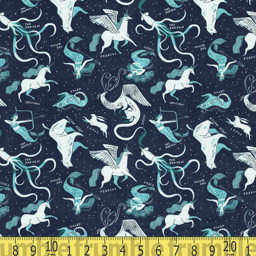 Mythical Star Sign Constellations Atlantic Blue - Frumble Fabrics