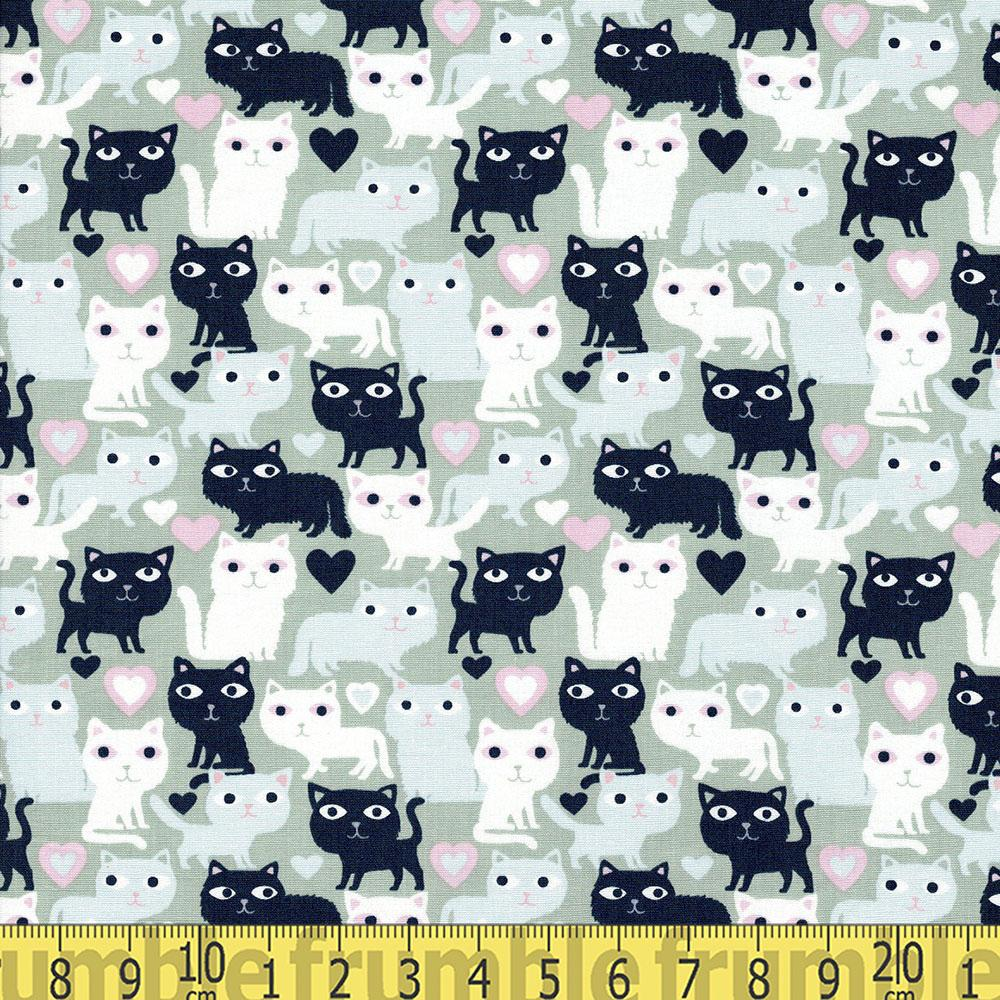 Purr-fection Loves Cats Green Fabric by Dear Stella