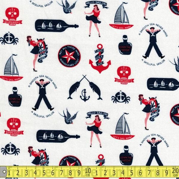 Hello Sailor Maritime Fun White Fabric by Dear Stella