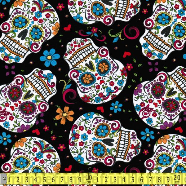Folkloric Skulls Black Fabric by David Textiles