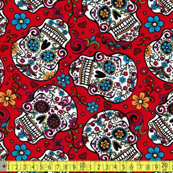 Folkloric Skulls Red Fabric by David Textiles