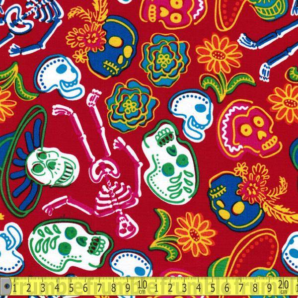 Sugar Skulls Red Fabric by David Textiles
