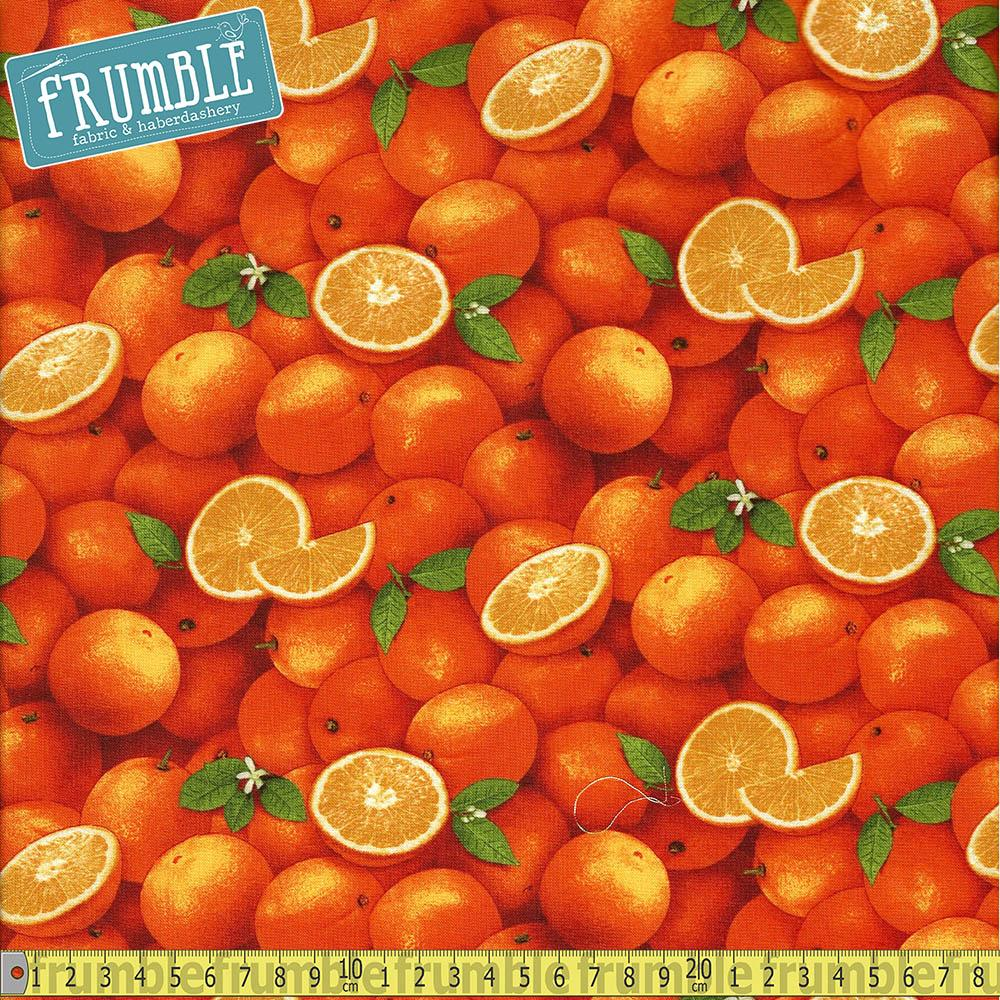Food Festival Oranges Fabric by Elizabeth Studio