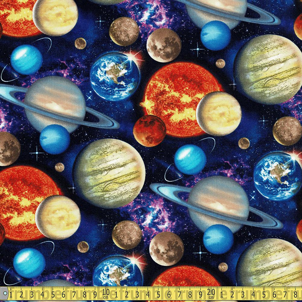 In Space Packed Planets Black Fabric by Elizabeth Studio