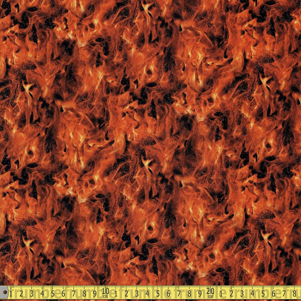 Elizabeths Studio - Under Fire - Flames Gold Sewing Fabric