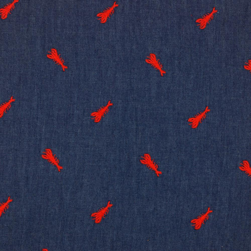 Embroidered Lobsters - Light Denim - Blue Sewing and Dressmaking Fabric