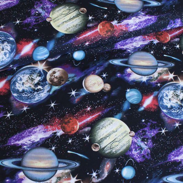 In Space Planets Black Fabric by Elizabeth Studios