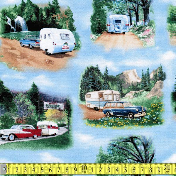 Vintage Trailers Camping Blue Fabric by Elizabeth Studios