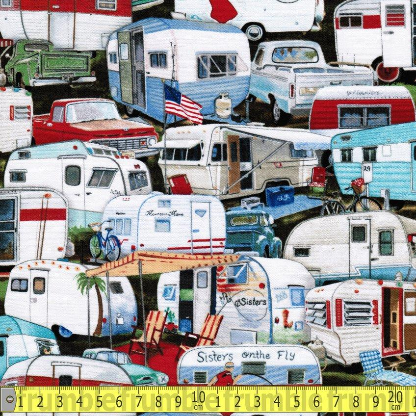 Vintage Trailers Packed Fabric by Elizabeth Studios