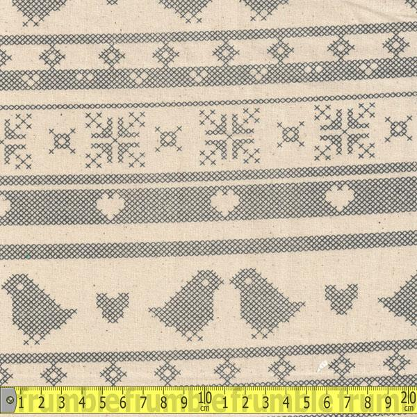 Calico Christmas Scandi Chicken Nat/Slate Fabric by Various