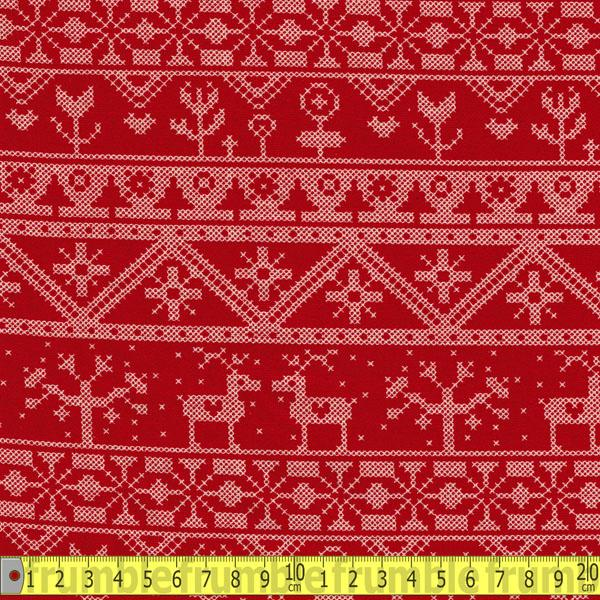 Linen Look Scandi Crossstitch Red/Nat Fabric by Various