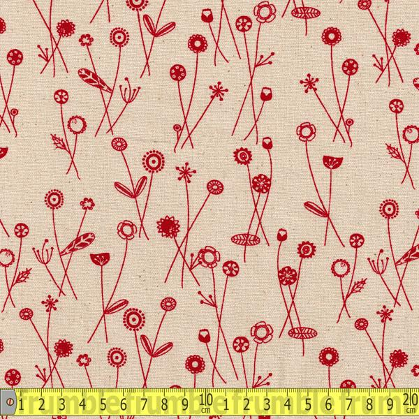 Linen Look Stem Flowers Nat/Red Fabric by Various