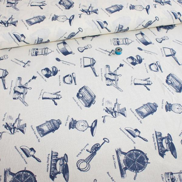 75cm Wide Linen Look Canvas - Victorian Kitchen Cream - Frumble Fabrics