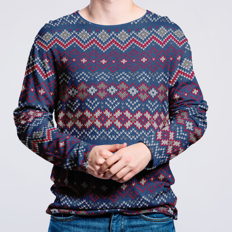 Festive Fair Isle Print - Brushed Cotton French Terry - Xmas Blues