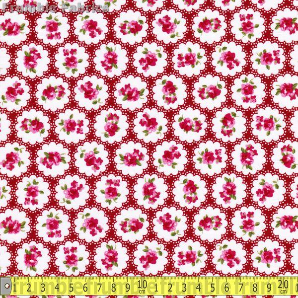 Country Flower Red (Per Metre) - Frumble Fabrics