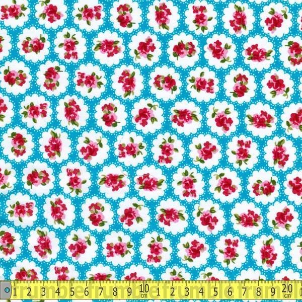Country Flower Turquoise (Per Metre) - Frumble Fabrics