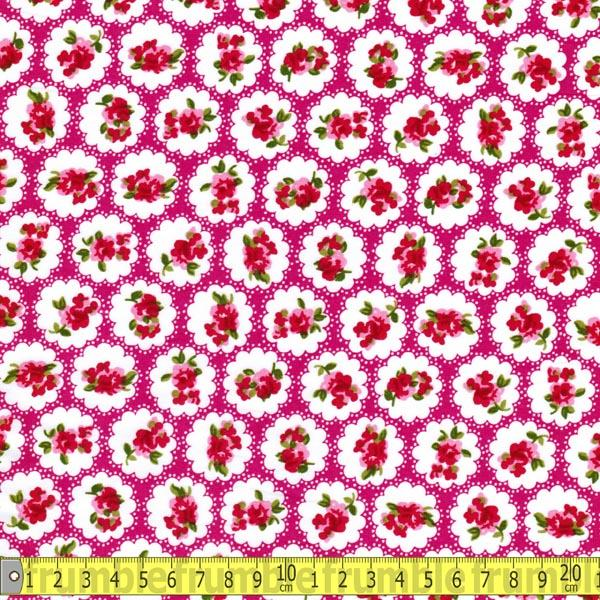 Country Flower Cerise (Per Metre) - Frumble Fabrics