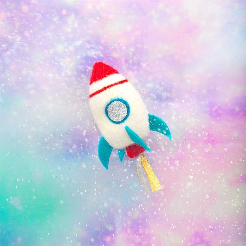 Rocket Felted Wool Felt Decoration