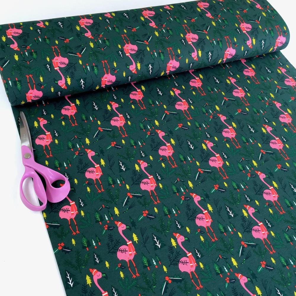 Flamingo Christmas - Brushed French Terry - Forest Green Sewing and Dressmaking Fabric