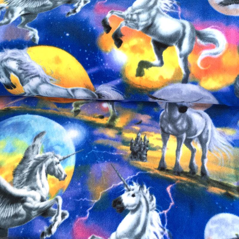 FLEECE Unicorn And Planets Multi Fabric by David Textiles