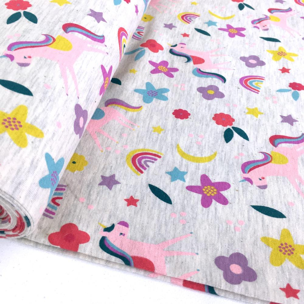 Flower Unicorn Power - Cotton Marl Jersey - Natural Sewing and Dressmaking Fabric