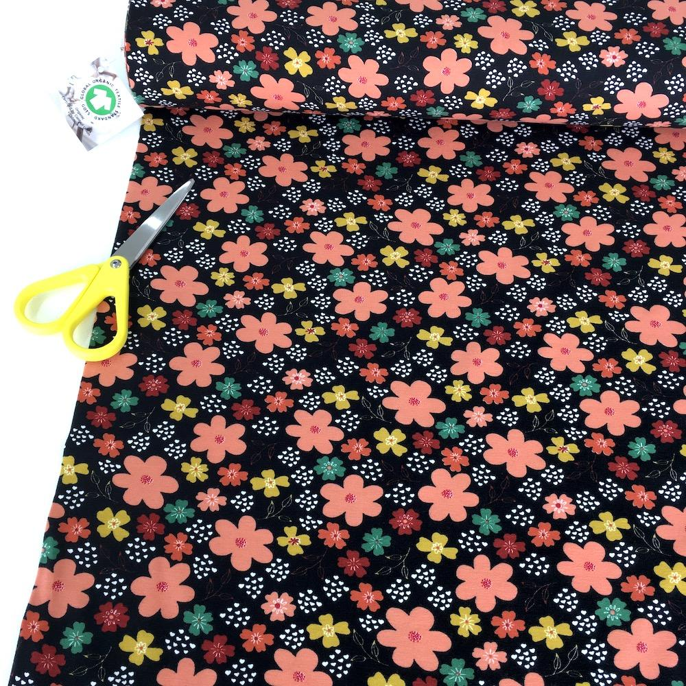 Flowers and Hearts - GOTS Printed Jersey - Black Sewing and Dressmaking Fabric