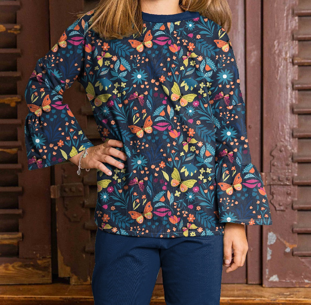 Butterfly Garden - Cotton French Terry - Navy