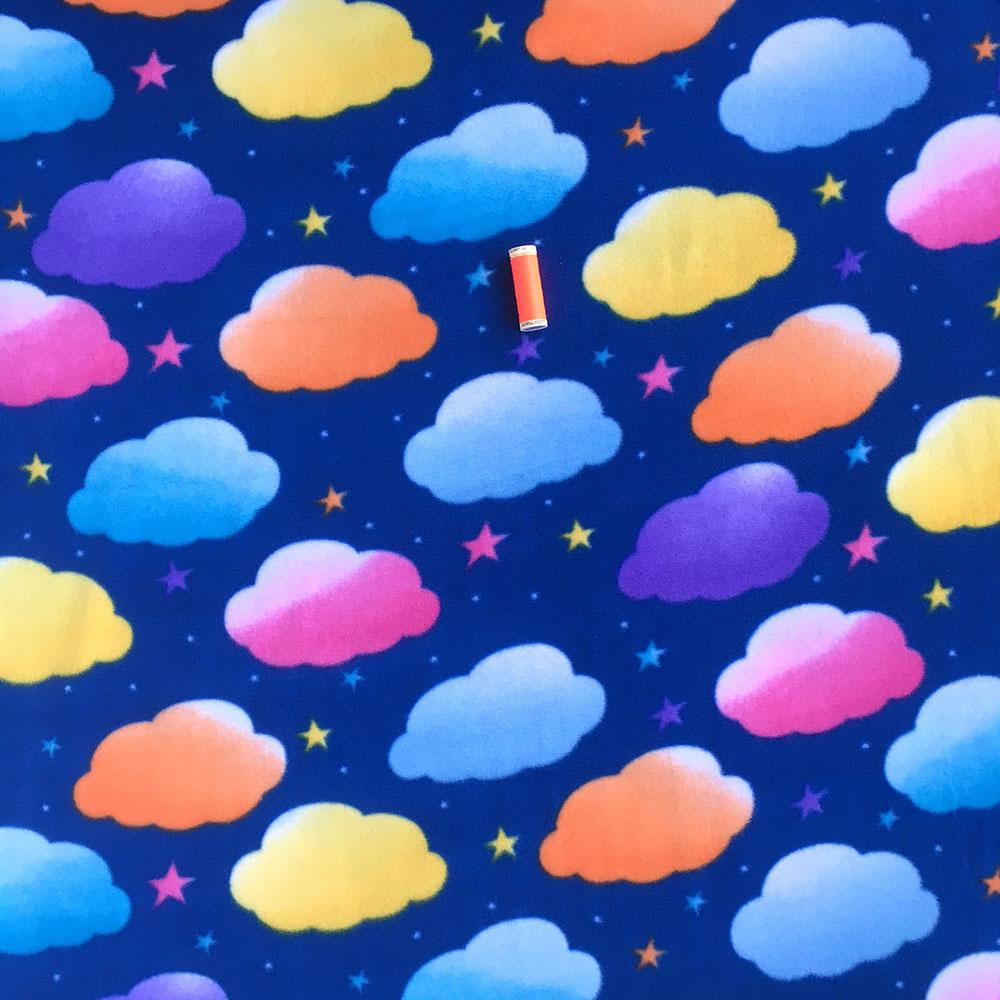 FLEECE Rainbow Clouds Navy Fabric by David Textiles