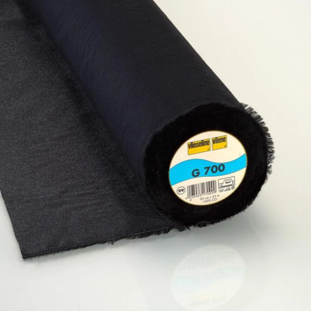 G700 Black Woven Cotton Iron On Interlining (Per Metre) - Frumble Fabrics