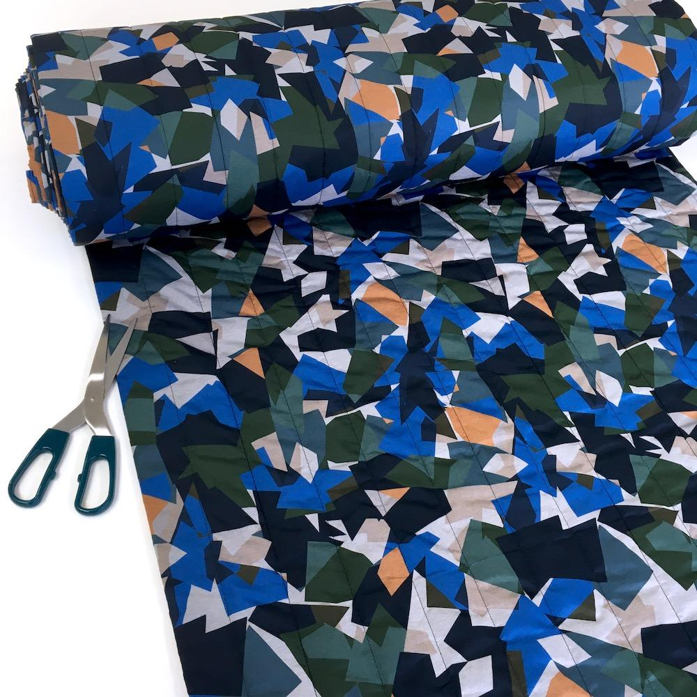 Geo Camouflage - Waterproof Puffer Fabric - Blue Sewing and Dressmaking Fabric