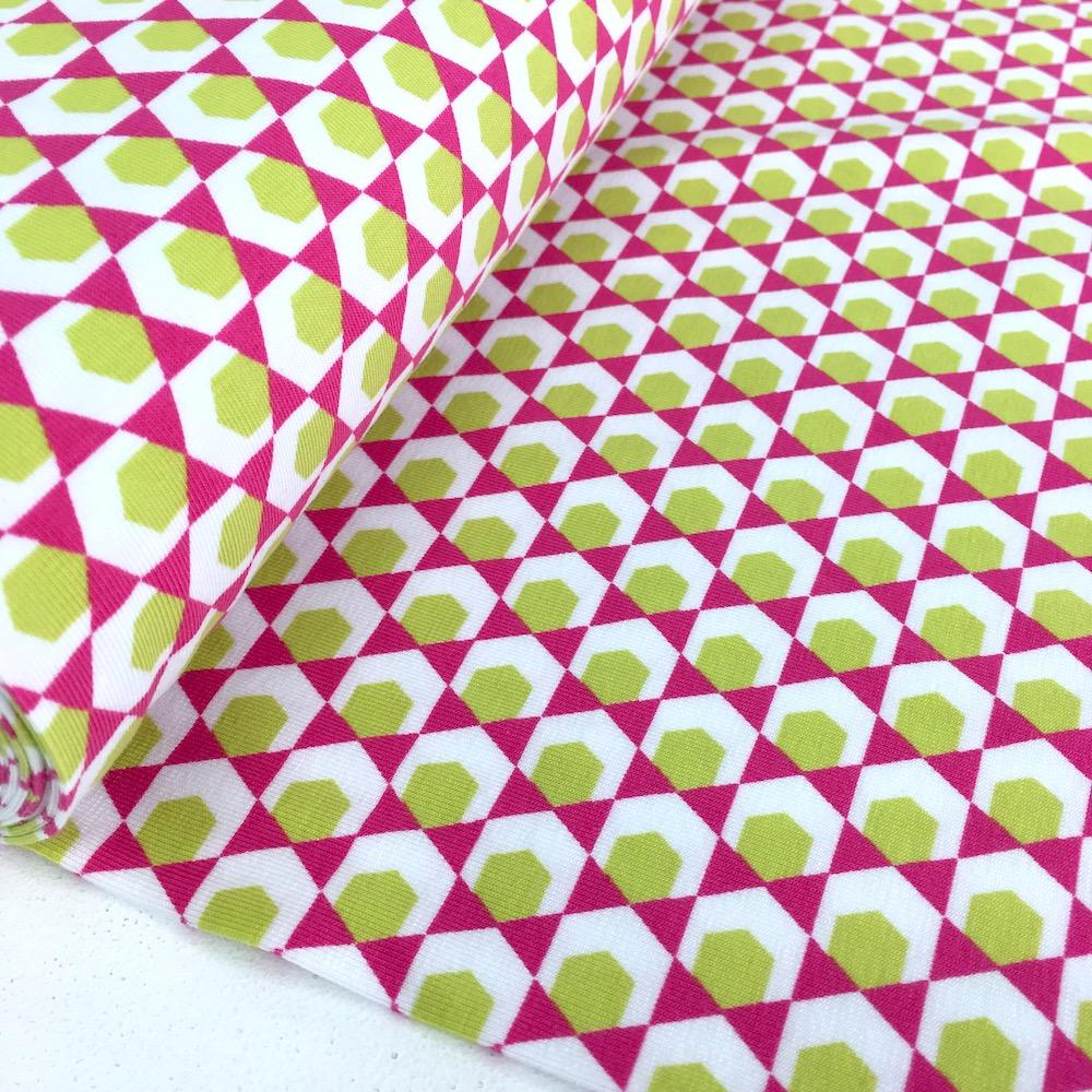 Geometric Hexagon - GOTS Printed Jersey - Cerise Pink Sewing and Dressmaking Fabric