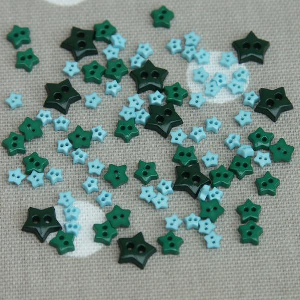 Star Shaped Mini Craft Buttons - Teal / Greens - Frumble Fabrics