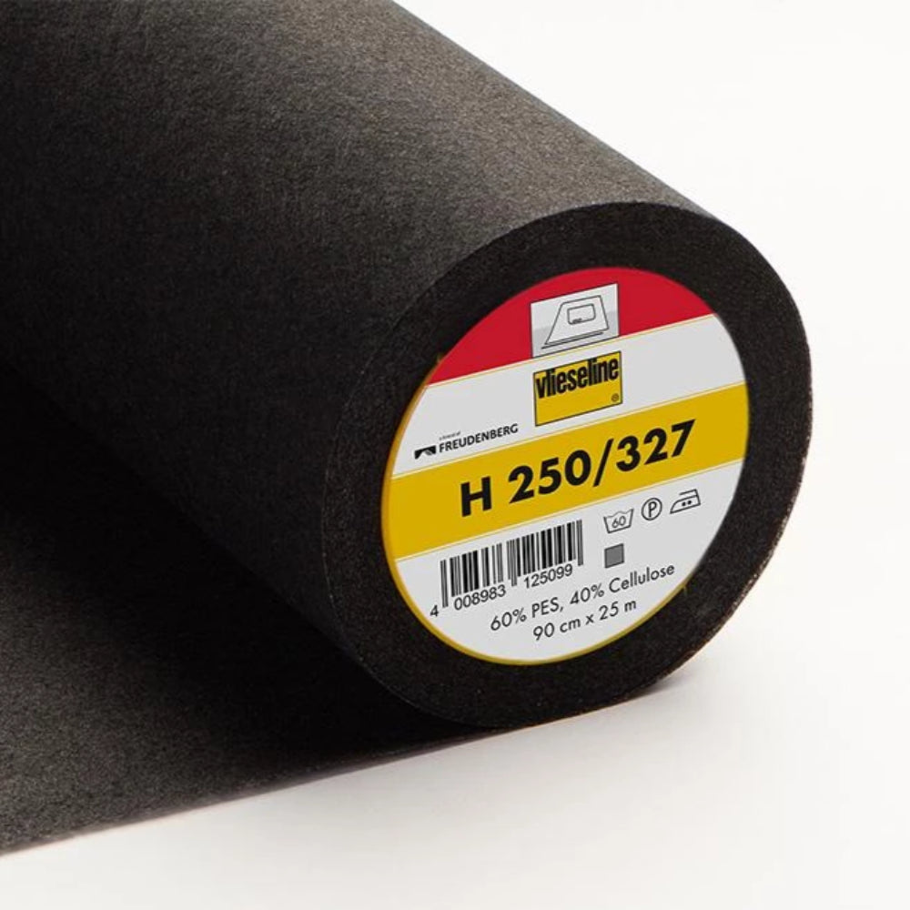 H250-327 Black Medium Fusible Interlining (Per Metre) - Frumble Fabrics