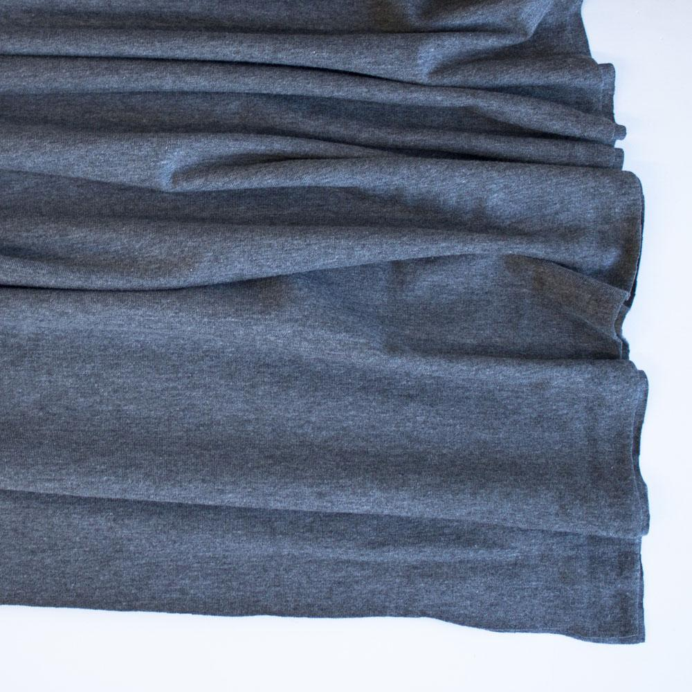 Dark Grey Marl Premium Plain Cotton/Spandex Jersey - Frumble Fabrics